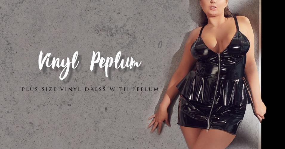 Plus Size Lak kjole med Peplum