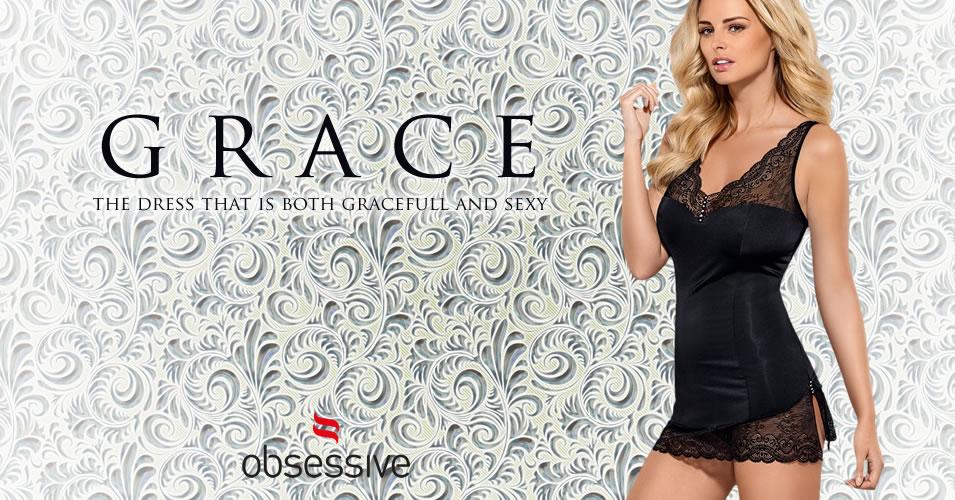 Obsessive Kjole Grace med blonder og G-streng