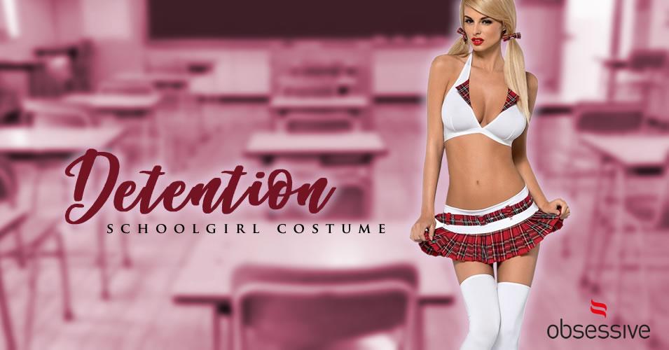 Obsessive Detention Skolepige Kostume med 5 dele
