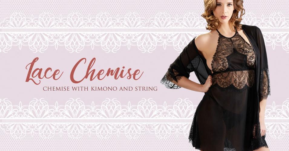 Blonde Negligé med Kimono og G-streng