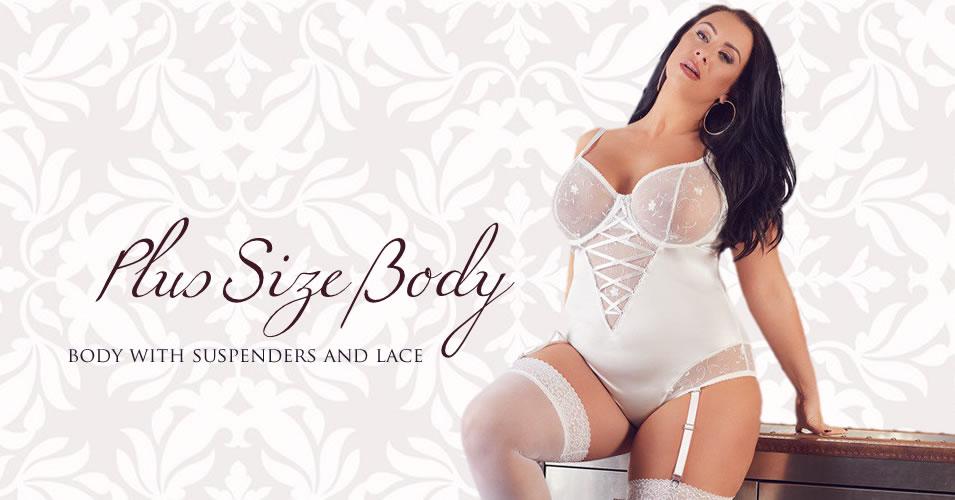 Plus Size Body i hvid med Strømpeholdere