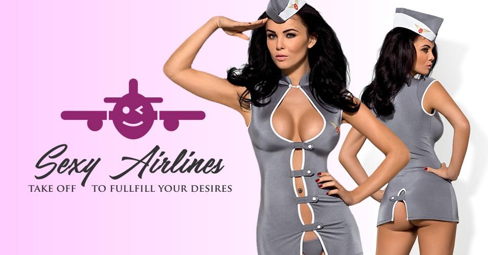 Obsessive Flight Attendant Frækt Stewardesse Kostume