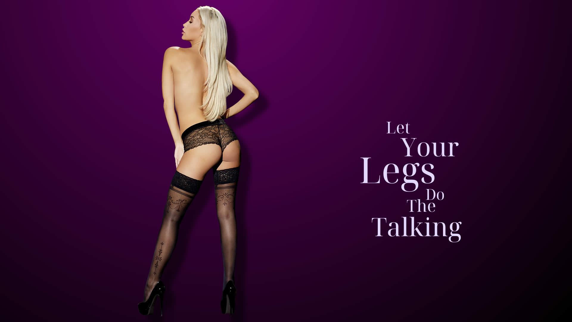 Selvsiddende Strømper med Blondekant og Elegant Mønster