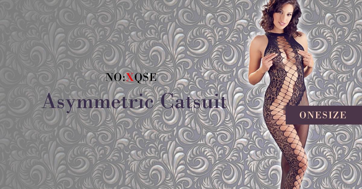 Catsuit med Asymmetrisk Net og Blonde Design
