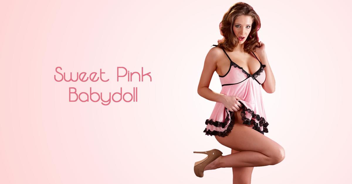 Babydoll sæt i lyserød med sorte Blondeflæser