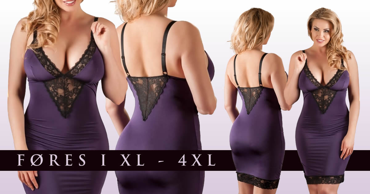 Plus Size lingerikjole i Lilla med Blonder
